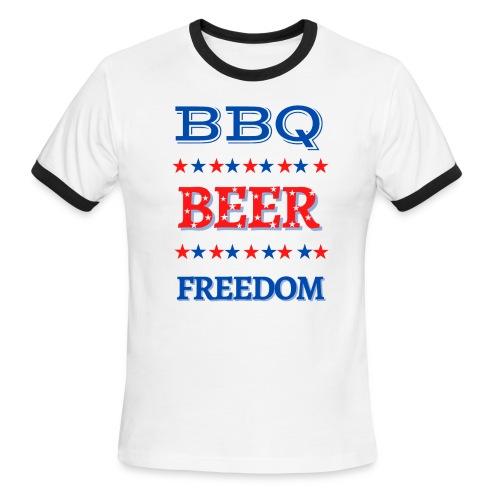BBQ BEER FREEDOM - Men's Ringer T-Shirt