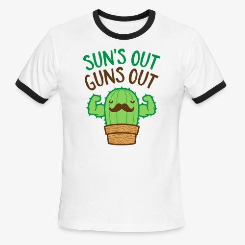 Sun's Out Guns Out Macho Cactus - Men's Ringer T-Shirt