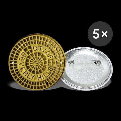 BEVERLY HILLS CALIFORNIA SEWER MANHOLE COVER! - Buttons large 2.2'' (5-pack)