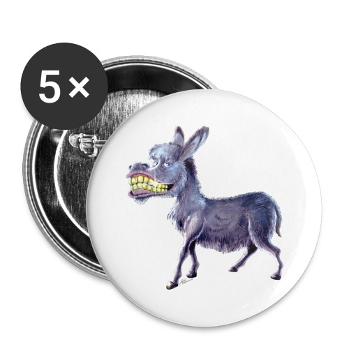 Funny Keep Smiling Donkey - Buttons large 2.2'' (5-pack)