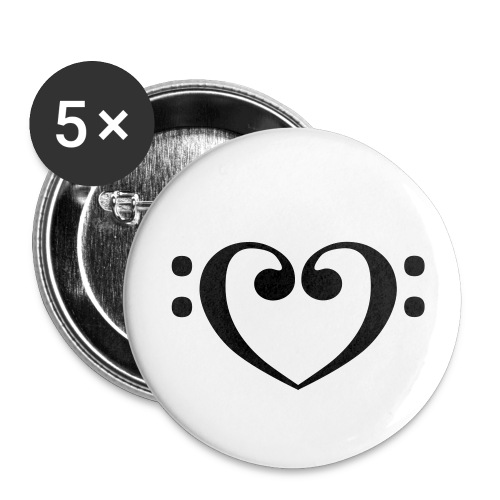 Bass Clef Heart - Buttons large 2.2'' (5-pack)