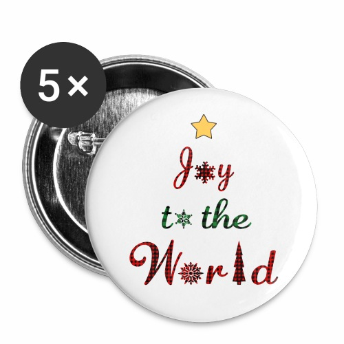 Joy to the world Christmas Tree Star Holiday Plaid - Buttons large 2.2'' (5-pack)