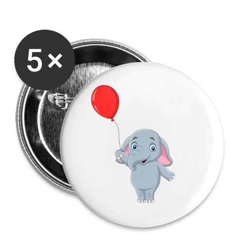 Baby Elephant Holding A Balloon - Buttons large 2.2'' (5-pack)