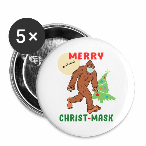 Merry Christmask Sasquatch Mask Social Distance. - Buttons large 2.2'' (5-pack)