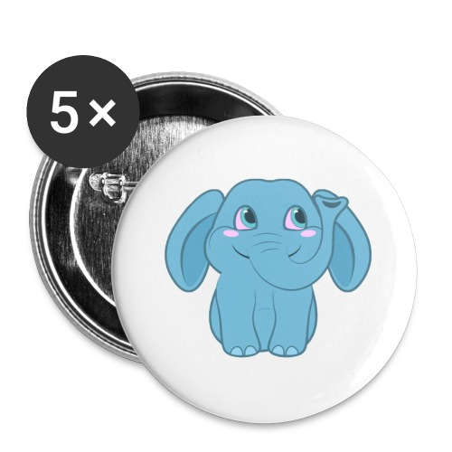 Baby Elephant Happy and Smiling - Buttons large 2.2'' (5-pack)