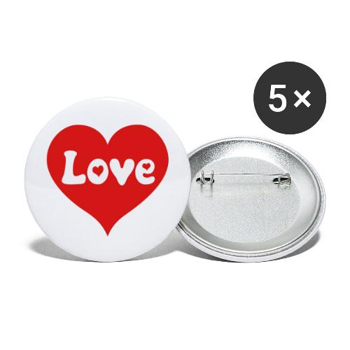Love Heart - Buttons large 2.2'' (5-pack)