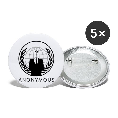 Anonymous 1 - Black - Buttons large 2.2'' (5-pack)