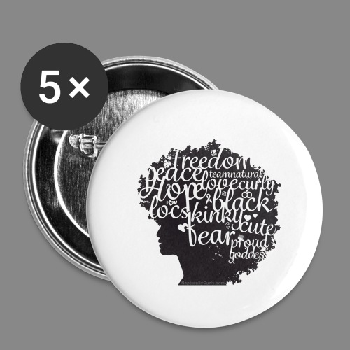 Afro Text II - Buttons large 2.2'' (5-pack)