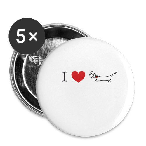 I love Dachshund - Buttons large 2.2'' (5-pack)
