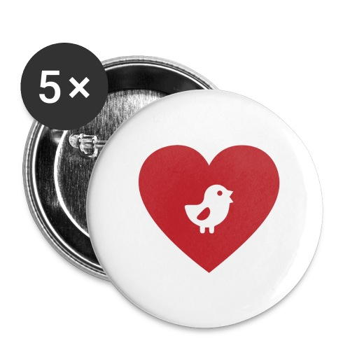 Heart Chick - Buttons large 2.2'' (5-pack)