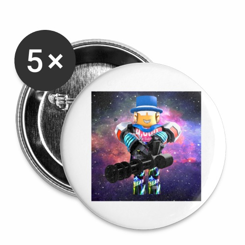 sean roblox character with minigun - Buttons large 2.2'' (5-pack)