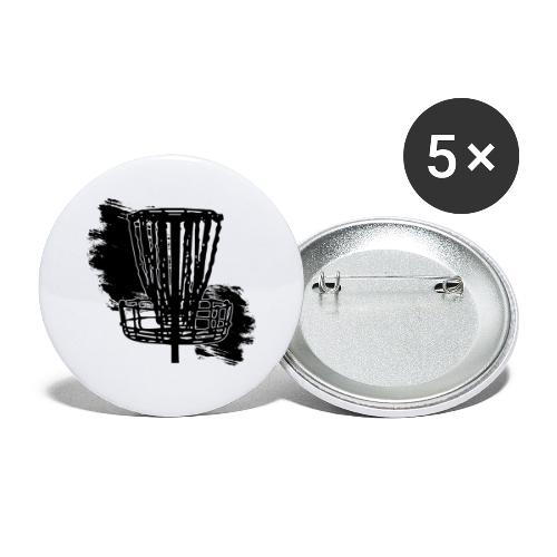 Disc Golf Basket Paint Black Print - Buttons large 2.2'' (5-pack)