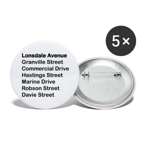 Street Names Black Text - Buttons large 2.2'' (5-pack)