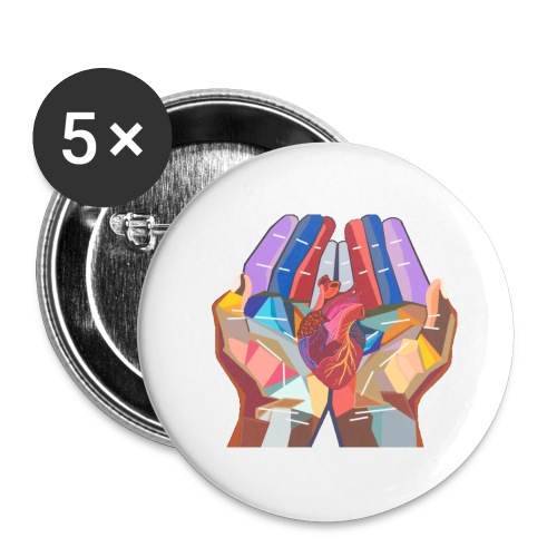 Heart in hand - Buttons large 2.2'' (5-pack)