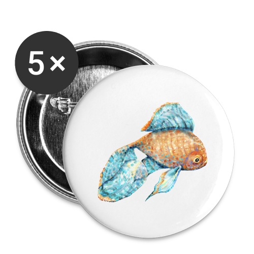 Blue Goldfish - Buttons large 2.2'' (5-pack)