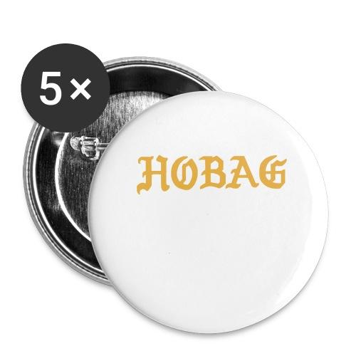 BLACK - HOBAG LETTERING - Buttons large 2.2'' (5-pack)