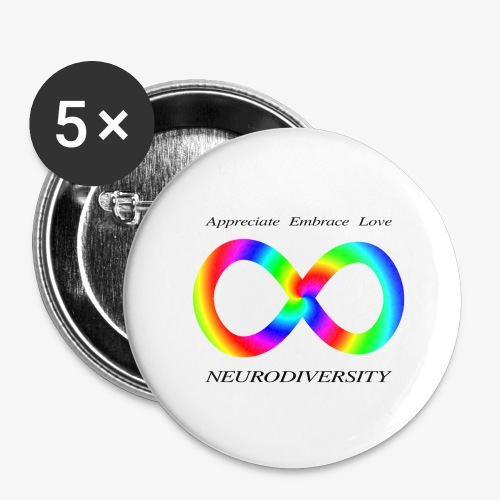 Embrace Neurodiversity with Swirl Rainbow - Buttons large 2.2'' (5-pack)