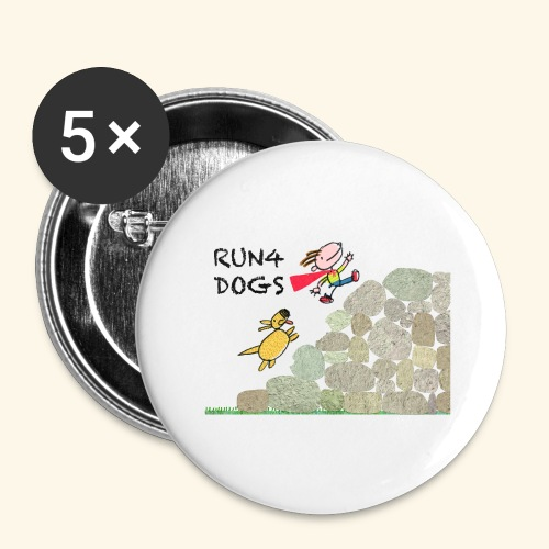 Dog chasing kid - Buttons large 2.2'' (5-pack)