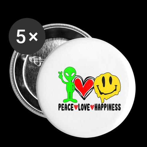 Peace Love Happpiness - Buttons large 2.2'' (5-pack)