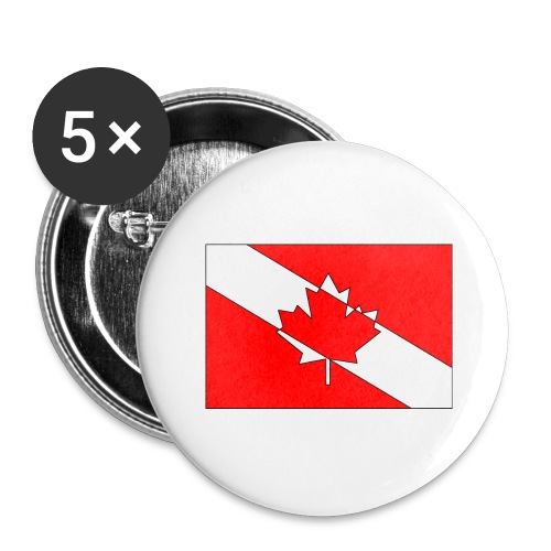 Canadian Diver Flag Red, White and Black Outline - Buttons large 2.2'' (5-pack)