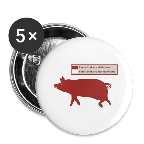 Bacon Pig Pork BBQ - Buttons large 2.2'' (5-pack)
