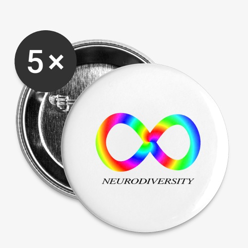 Neurodiversity with Rainbow swirl - Buttons large 2.2'' (5-pack)