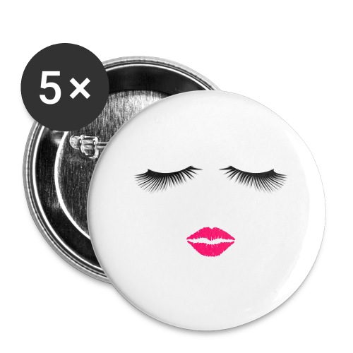 Lipstick and Eyelashes - Buttons large 2.2'' (5-pack)