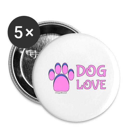 Pink Dog paw print Dog Love - Buttons large 2.2'' (5-pack)