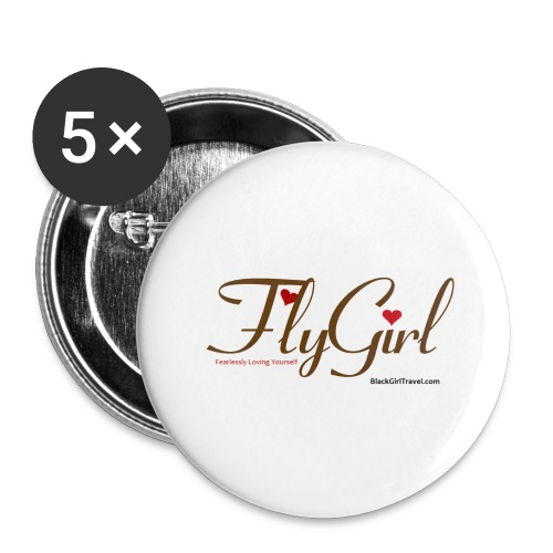 FlyGirlTextGray jpg - Buttons large 2.2'' (5-pack)