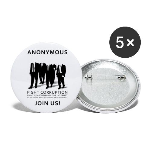 Anonymous 3 - Black - Buttons large 2.2'' (5-pack)