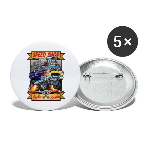 Speed Shop Hot Rod Muscle Car Cartoon Illustration - Buttons large 2.2'' (5-pack)