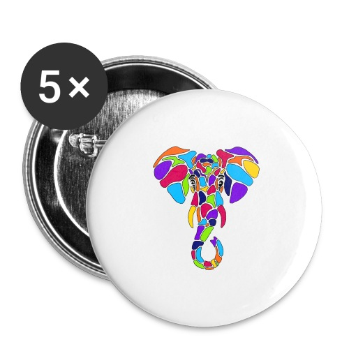 Art Deco elephant - Buttons large 2.2'' (5-pack)