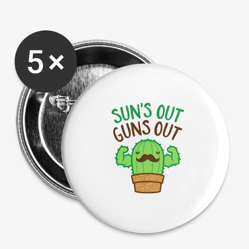 Sun's Out Guns Out Macho Cactus - Buttons large 2.2'' (5-pack)