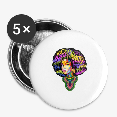 Afro Queen Dashiki - Buttons large 2.2'' (5-pack)