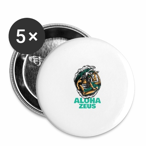 Aloha Zeus: Surfing God - Buttons large 2.2'' (5-pack)