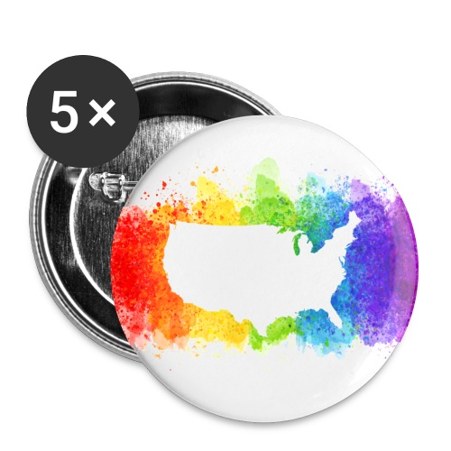Pride Rainbow Map USA - Buttons large 2.2'' (5-pack)