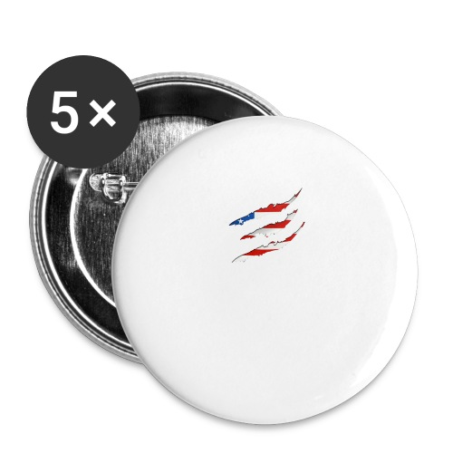 3D American Flag Claw Marks T-shirt for Men - Buttons large 2.2'' (5-pack)