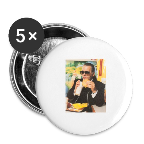 Karl Lagerfeld Eating a McDonald's Cheeseburger - Buttons large 2.2'' (5-pack)
