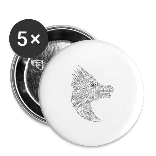 black art deco dragon head - Buttons large 2.2'' (5-pack)