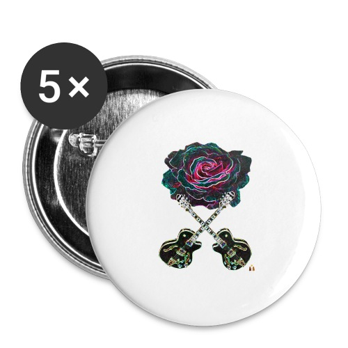 Black Rose - Buttons large 2.2'' (5-pack)