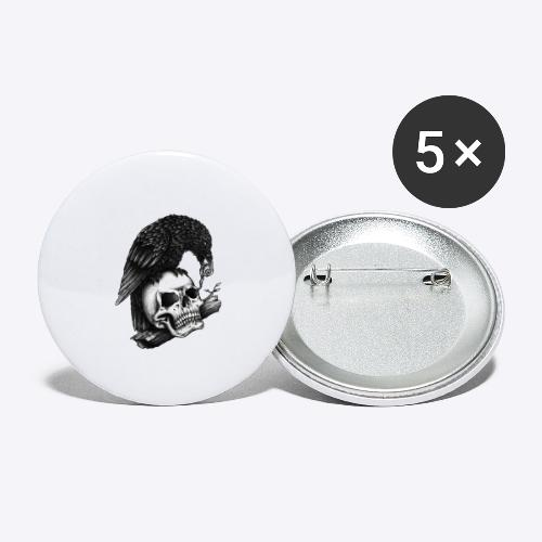 Skull Crow - Buttons large 2.2'' (5-pack)
