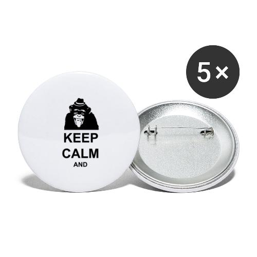 KEEP CALM MONKEY CUSTOM TEXT - Buttons large 2.2'' (5-pack)