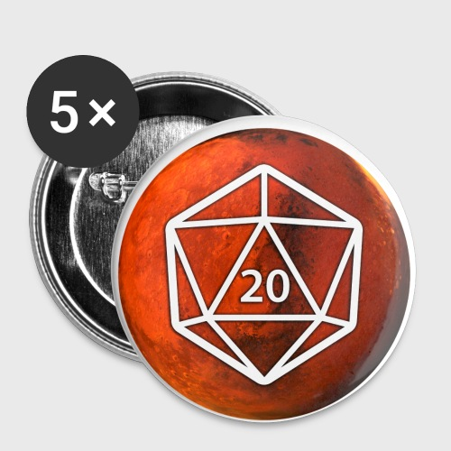 Mars d20 Astronomy Space - Buttons large 2.2'' (5-pack)