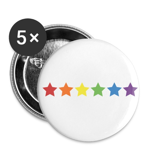 Pride Rainbow Stars - Buttons large 2.2'' (5-pack)