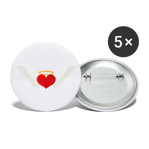 Winged heart - Angel wings - Guardian Angel - Buttons large 2.2'' (5-pack)
