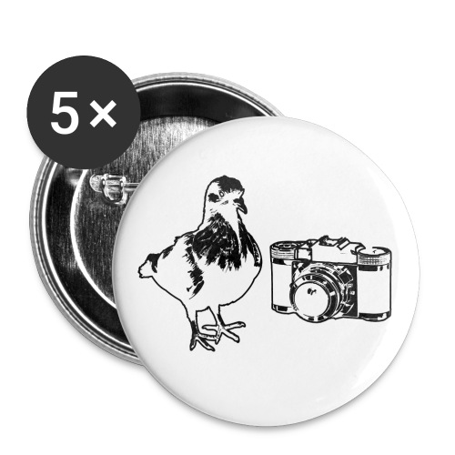 Pigeon Camera Black - Buttons large 2.2'' (5-pack)