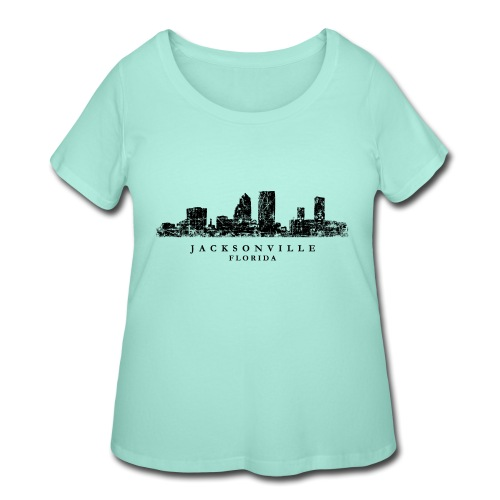 Jacksonville, Florida Skyline (Vintage Black) - Women's Curvy T-Shirt