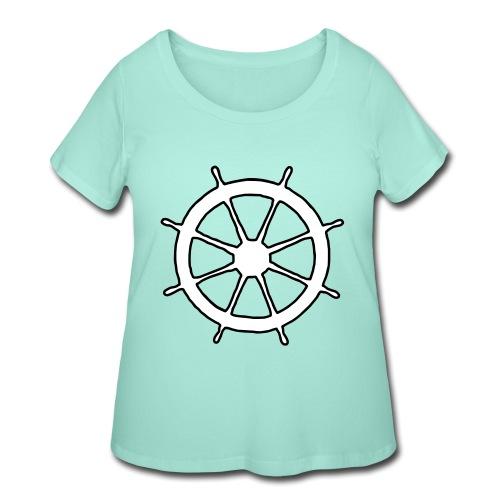 Steering Wheel Sailor Sailing Boating Yachting - Women's Curvy T-Shirt