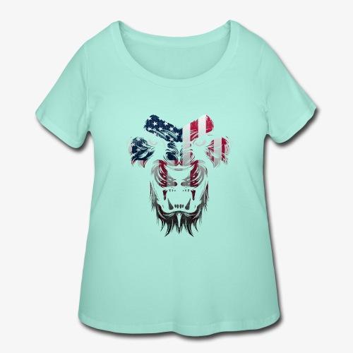American Flag Lion Shirt - Women's Curvy T-Shirt
