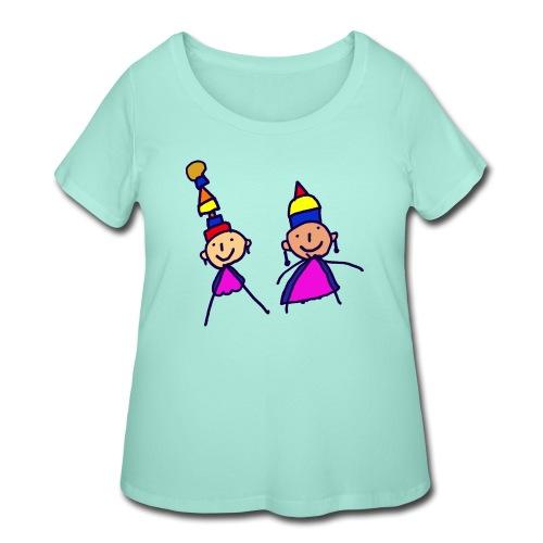 2 girls in hat - Women's Curvy T-Shirt